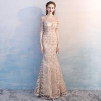 Eleganter Champagner Spitze Perlen Abendkleid Meerjungfrau Abendkleider 1/2 Ärmel Juwel Sheer Hals Frauen Party Kleid Reißverschluss Bodenlänge D26