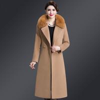 donne cappotto di lana 5XL collare pelo lungo 2018 cappotto double face cashmere Miscele Sashes Slim tasche della tuta sportiva