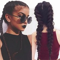 Free Shipping Full Fiber Hair 22inch Double Braids Wig High ...