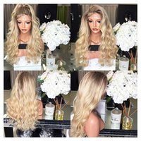 Top Quality 180% Density Glueless Blonde Long Wavy Wigs with...