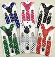 Fashion Boys Girls Kids Polka Dots Grid Suspenders High Qual...