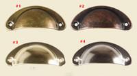 Antico europeo 4 colori Vintage Cabinet Knob Cassetti Shellfish Iron Skin Mobili semicerchio in ottone Shell maniglioni