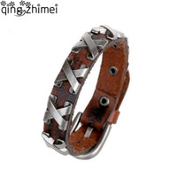 Cool 100% Genuine Leather Thick Male Bracelet Metal Cross Ri...