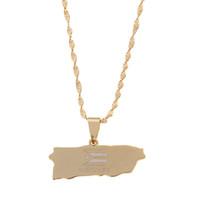 Oro Puerto Rico Collane con ciondolo Gioielli Acciaio inossidabile Portoricano Mappa gioielli