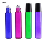Venta caliente Perfume Roller Bottle Aceite Esencial Empty Blue Green Purple Bottle 10ml Roll-On Sample Glass Bills Wholesale USA UK