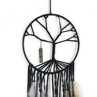 2018 Ciondolo Dream Dream Catcher Round Feather Decorazione di interni Artigianato regalo Sognatore Wind Bell Home Pendant