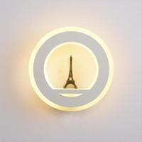 LED 19W Wall Light AC85-265V parede Mouted Paris Torre Lâmpada de parede acrílica redonda interior lâmpada decorativa para Quarto Estudo Foyer