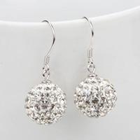 Pièces de mode boucles d'oreilles en cristal pour femmes balancent 10mm / 12mm bijoux vente chaude nouveau strass Mix Couleurs blanc New disco billes perles d'argile