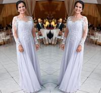 Robes de mousseline longue Mère pour mariages Dentelle Appliques à manches longues paillettes Mère de la mariée Robe de mariée Plus Taille Robes Mère Ba9248