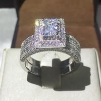 Ювелирные изделия ручной работы 138 шт. Драгоценный камень 5A цирконий камень 14-каратного белого золота заполнены обручальное кольцо обручальное кольцо свадебный набор Sz 5-11