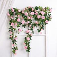 Alta classe Planta Artificial Folhas Verdes Vinha Simulação Cane Adorno de seda Flores Guirlanda Festa Em Casa Para A Decoração da parede Rose Rose Vines