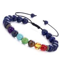 Siete - chakra piedra pulsera de energía natural lapislázuli ojo de tigre pulsera de yoga ajustable salud pulsera