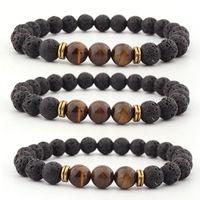 Kimter Natural Volcanic Lava Stone Bracelets Tiger Eye Bangle Essential Oil Diffuser Bracelet for Women Men Fashion Jewelry H539F