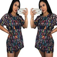 Multi colour letters woman' s dress Summer casual loose ...