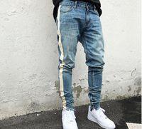 Westen schwarz dünne Jeans Männer Hip Hop Streifen Ripped Elastic Slim Fit Jeans Men Marke Biker Denim Jogger Entwurf