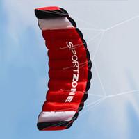 Dual Line Parachute Stunt Vlieger met twee 30 M Handle Lineone Opbergtas Parafoil Kite Outdoor Beach Fun Sports Kite Hoge kwaliteit