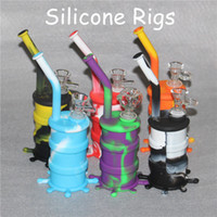 Silicon Rigs Silicone Hookah Bongs Glow in dark silicon oil dab rigs with different glass bowl silicone nectar collector glass water pipes
