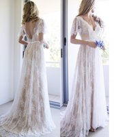 2018 New Charming Bohemian Wedding Dresses V Neck Backless J...