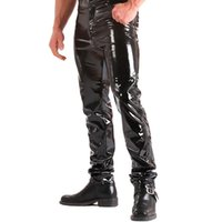 High Gloss Patent Leather Moto & Biker Men' s Trousers B...