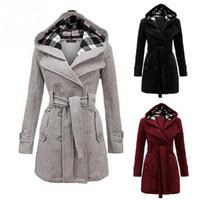 bc007943d9f1 Damenmode Winter Hooded Blend Coat mit Gürtel Mantel Plus Size Langarm  Jacken Mantel Warmer Mantel