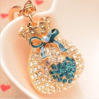 brand new crystal gold plated purse wallet shape key chain r...