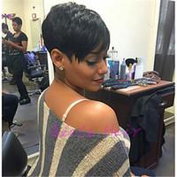 Ünlü Peruk Sıcak Satış Perulu Bakire Kesim Saç Peruk İnsan Saç Peruk Düz Kısa Kesim Siyah Kadınlar için Pixie Bayanlar Peruk