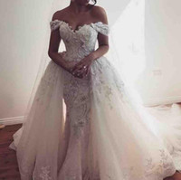 Overskirts Wedding Dresses Off The Shoulder Lace Appliques T...