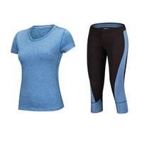 Diaoyilan Mulheres Yoga de Fitness Sports Define Ginásio 2pcs Workout Sportswear / SET Tracksuits camisas + Yoga Pants Esporte Leggin