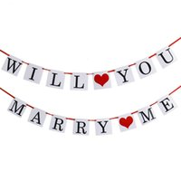 Te Casas ME boda del corazón del amor del partido de arpillera bandera Flag Bunting Garland Decoración apoyos de la foto Muestra colgante para el Día de San Valentín