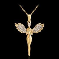 Alas de Ángel de moda Cruz Collar Colgante de Cristal de Color Oro Joyería Cristiana Regalos Para Las Mujeres