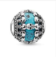 Prata Azul Pedra Crânio Karma Beads Fit Pulseira Colar, esqueleto DIY Bead Acessórios Presente Para Fazer Jóias Para Mulheres Homens