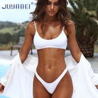 JUYABEI Bikini Triángulo Sólido 2018 Sexy Blanco Negro Traje de baño Tanga Mujer Push-up Brasil Biquini Halter Beach Bañador Mujeres