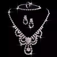 مجموعة مجوهرات الزفاف حجر الراين قلادة أقراط الزفاف سلسلة سباركي اكسسوارات الزفاف مجموعات المجوهرات حفلة موسيقية رخيصة