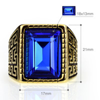 Gold Men' s Stainless Steel 316 Cushion Cut Cubic Zircon...