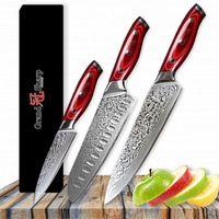 GRANDSHARP 3 Stück Damaskus Messersätze 67 Schichten Japanisch Damaskus Stahl vg10 Chef Japaner Santoku Utility Küchenmesser Set NEU