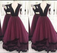 Elegant Plus Size Prom Dresses A- Line Deep V Neck Sleeveless...