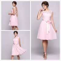 Pink Bridesmaid Dresses Lace And Tulle Jewel Kneel Length Co...