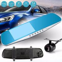 coche de 2 canales DVR 1080P espejo grabador de vídeo digital de HD dashcam frontal 170 grados 4.3 pulgadas de monitor de visión nocturna G-sensor
