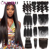 Unprocessed Brazilian Hair 3 Bundles with Weaves Closure Bod...