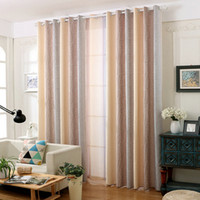 Rustic Cotton Linen Blackout Curtain Water Wave Pattern Grad...