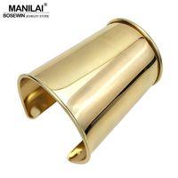 intero saleMANILAI 2017 Semplice design liscio lega dei braccialetti del polsino per le donne Dichiarazione monili classici Big braccialetto Manchette Accessori