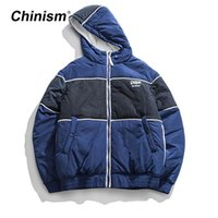 CHINISM Patchwork Hoodie Parkas Mens Winter Fashion Streetwe...