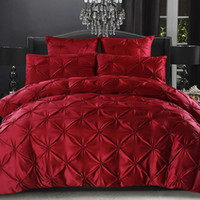 European Solid Bedding Set Ruffle Duvet Cover Red Black Whit...