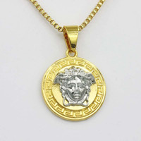 Designer Men Rotatable Circular Band Necklace Gold Plated Rh...