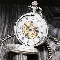 Número de Prata Roman Vintage Mecânica Pocket Watch Duplo Abrir caixa do relógio fob P803C