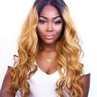 Perruques frontales de la dentelle de la dentelle humaine ombre Précoupies 1B 27 Honey Blonde Wavy Cheveux Remy Perruques de dentelle brésilienne avec des cheveux pour femmes