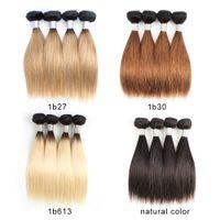 Peruviano economico ombre bionda capelli umani tessuto bundle 50g / bundle 10-12 pollici 4 pacchi / set di capelli naturali capelli remy remy
