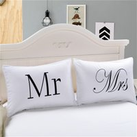 2018 MR and MRS Pillow Case Couple Pillow Shams for Him or H...