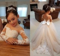 2018 Ball Gown Flower Girls Dresses For Weddings Sheer Neck ...