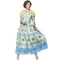 b7e5b769d Alta calidad 2017 diseñador de la pista de primavera de impresión maxi  largo dress mujeres elegante